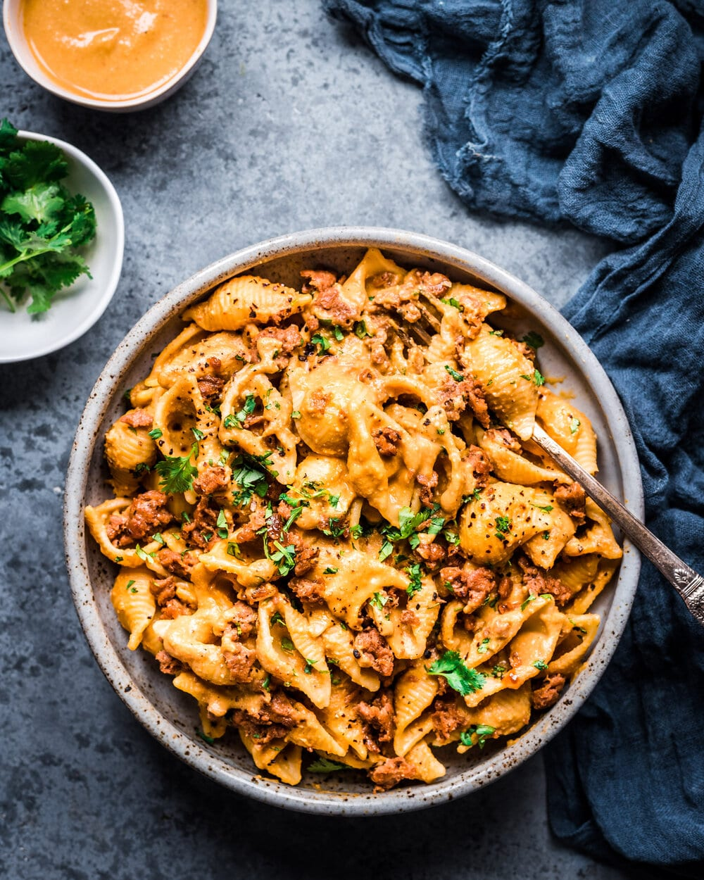 Creamy Chipotle Sweet Potato Pasta. creamy vegan pasta in bowl. Pasta food photography.