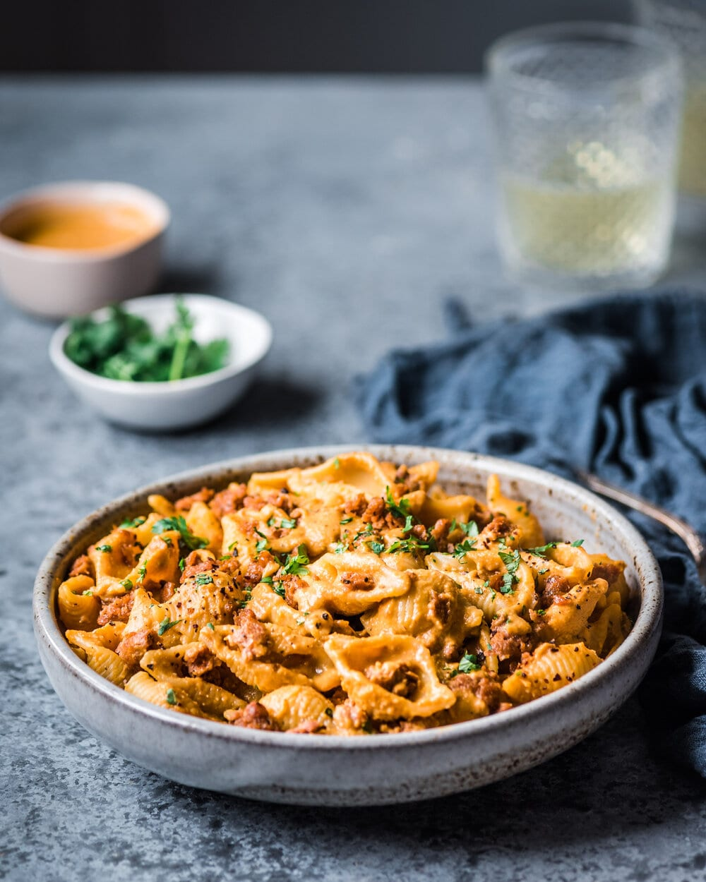 Creamy Chipotle Sweet Potato Pasta. vegan pantry pasta. Pasta food photography.Pasta food photography.