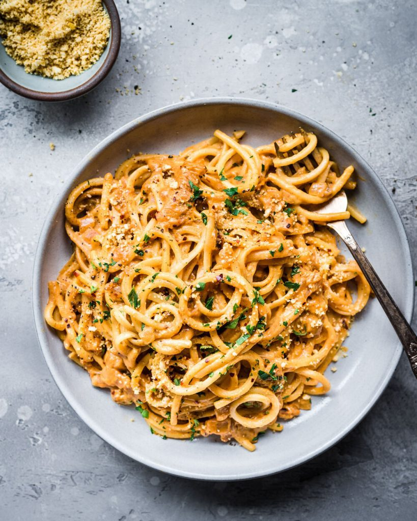 creamy pantry pasta in a bowl