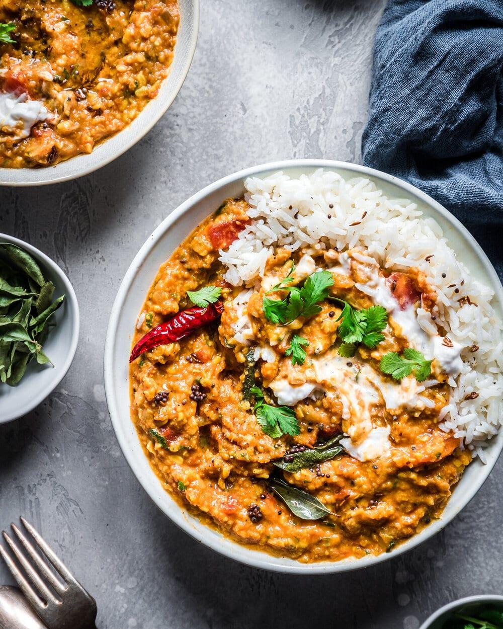 10 Healthy Vegan Lentil recipes. Vegan Indian dal tadka.