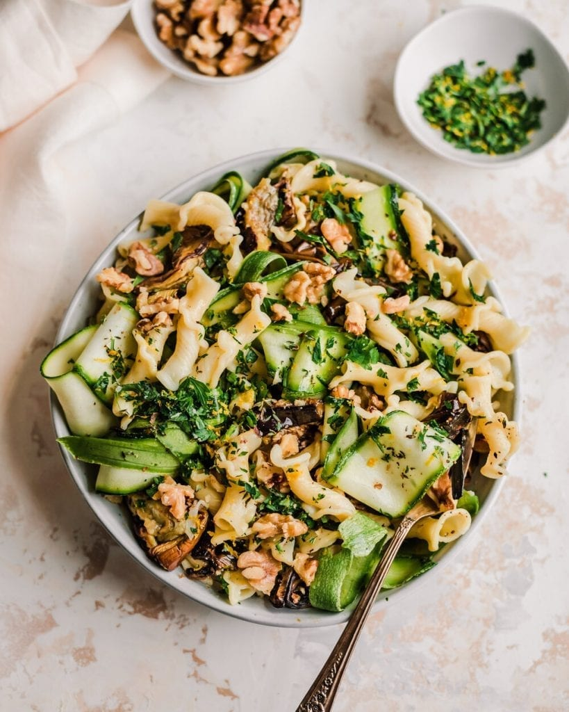 roasted eggplant and zucchini pasta in bowl