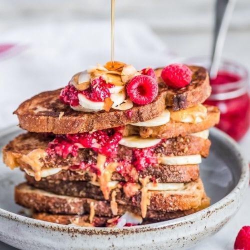 Vegan Peanut Butter and Jelly Banana French Toast
