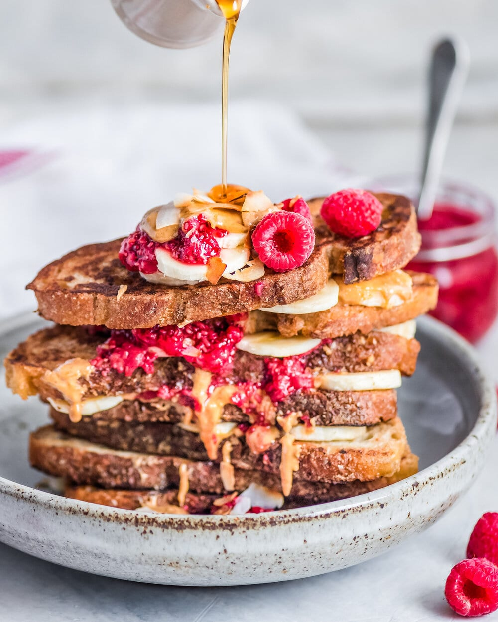 Peanut Butter and Jelly Banana French Toast (Vegan)