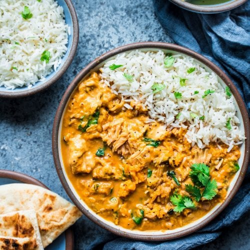 jackfruit sweet potato curry in a bowl with rice
