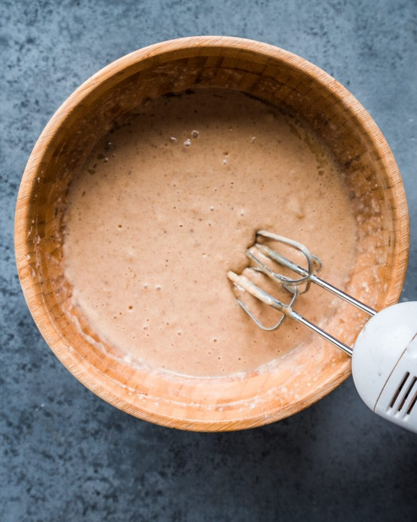 mixing batter until just combined and smooth