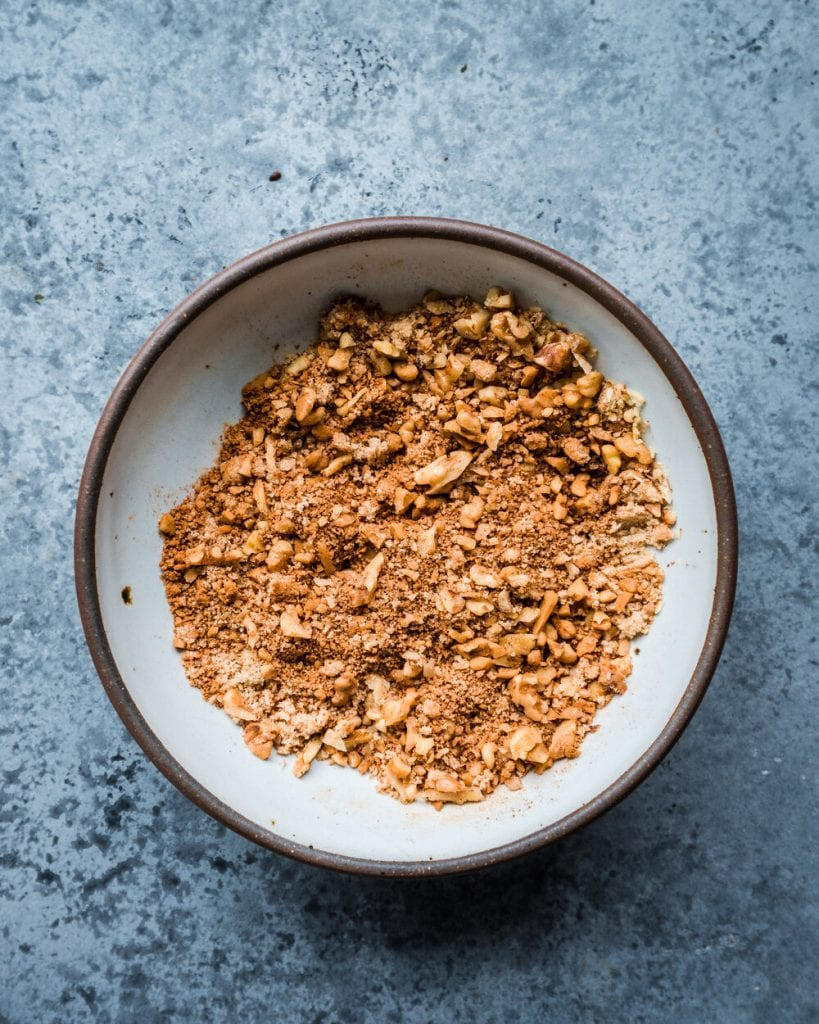 chopped walnuts mixed with with brown sugar, cinnamon, nutmeg, and cloves