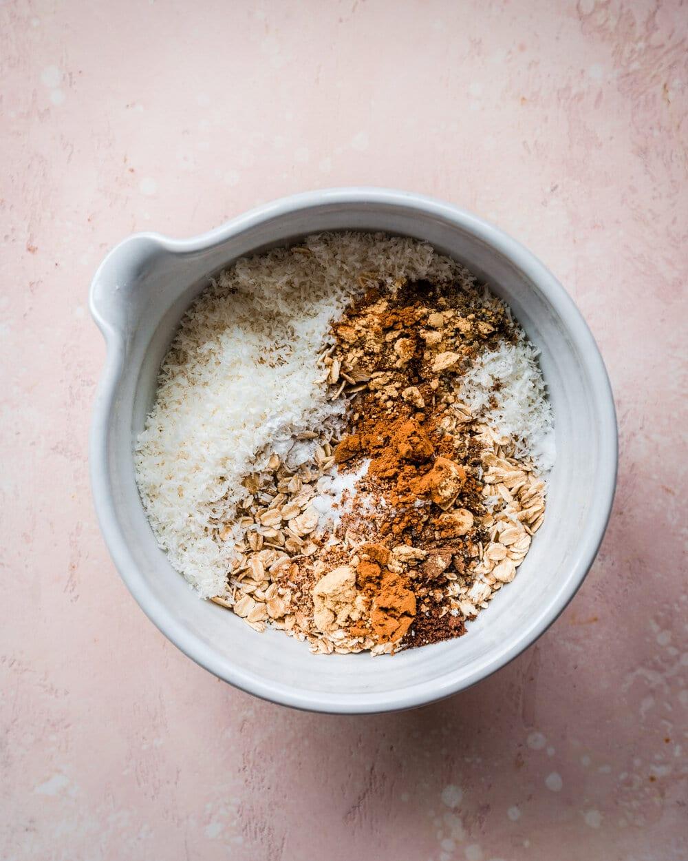 flour, baking powder, baking soda, and salt in bowl