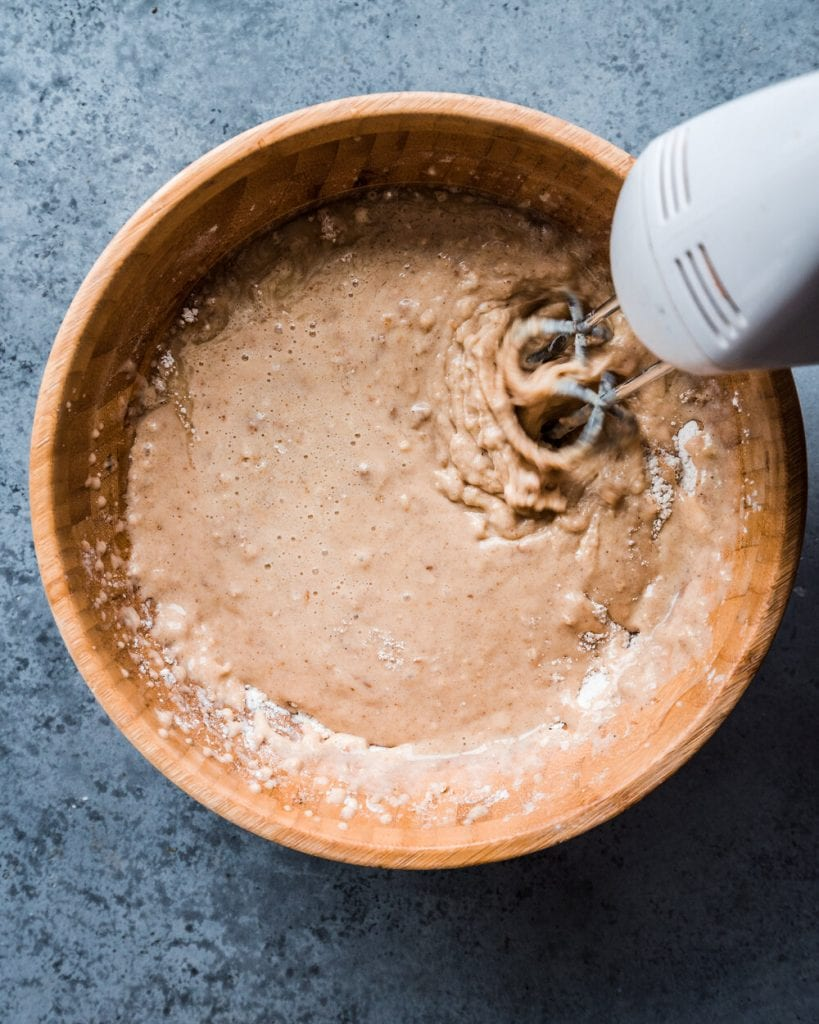 mixing wet and dry ingredients in a bowl