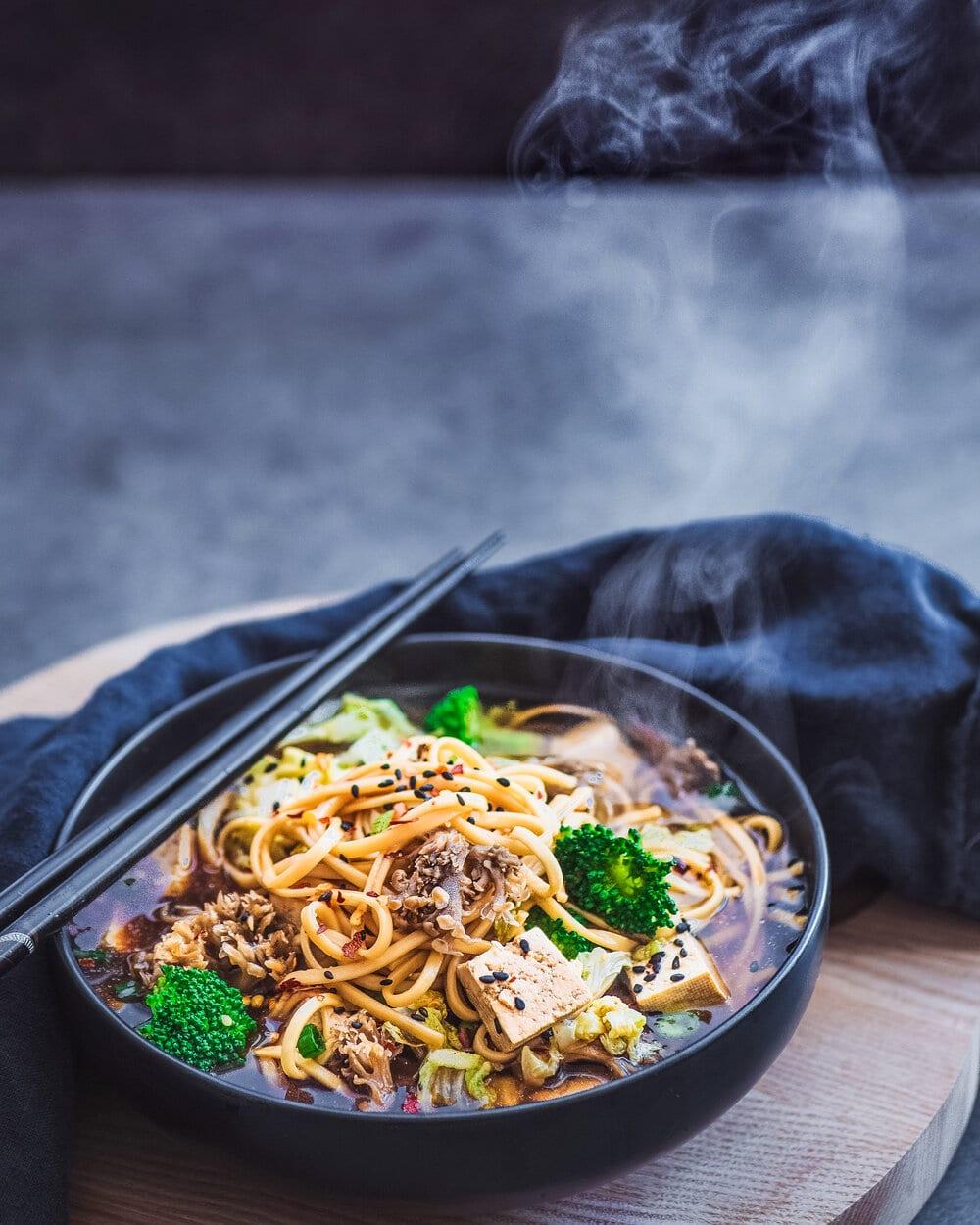 Vegan Mushroom Udon Noodle Soup