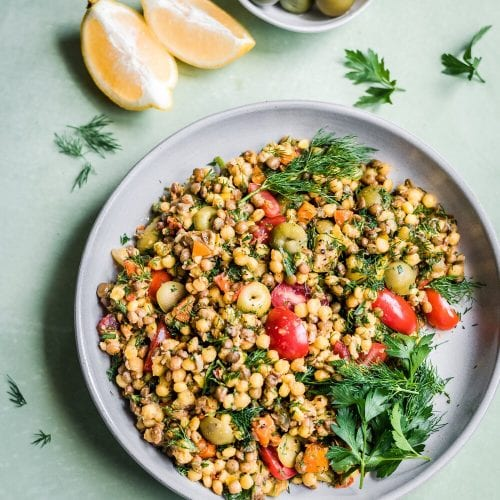 Instant Pot Pearl Couscous and Lentil Salad