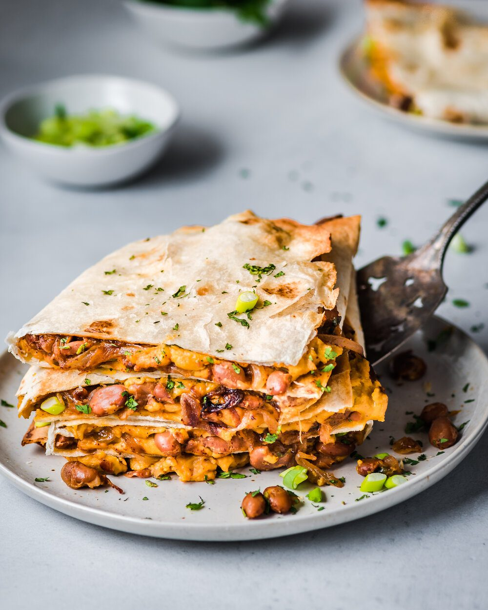 Vegan Quesadillas with Smoky Cheese and Refried Beans. Quesadillas food photography. pantry vegan Quesadillas.