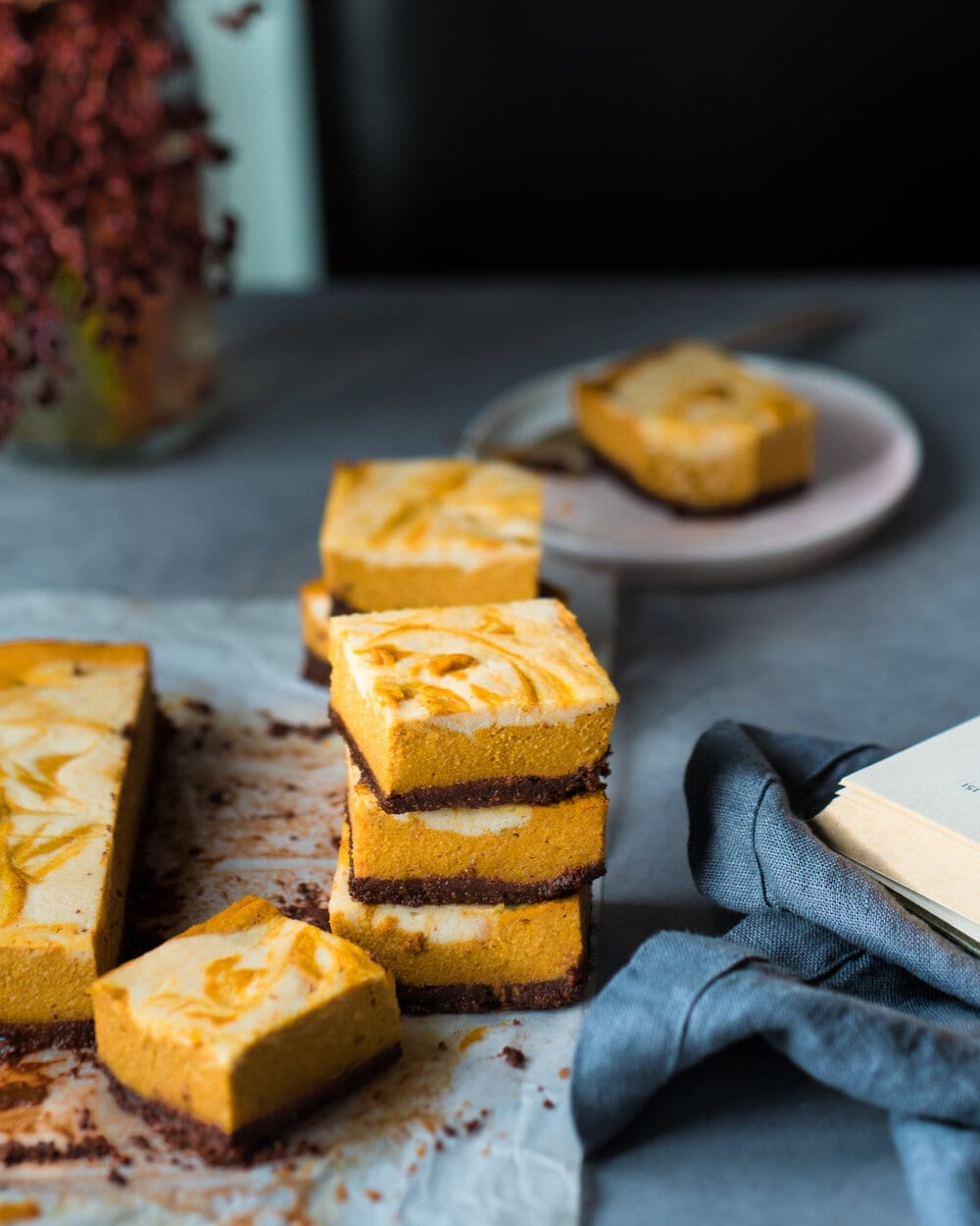 10 Delicious Vegan Pumpkin Desserts. vegan pumpkin cheesecake bars.