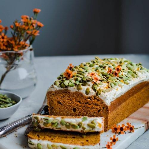 Healthy Vegan Pumpkin Bread with Cashew Buttercream Frosting