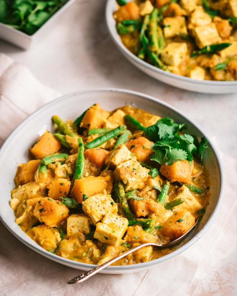 pumpkin curry with tofu in a bowl