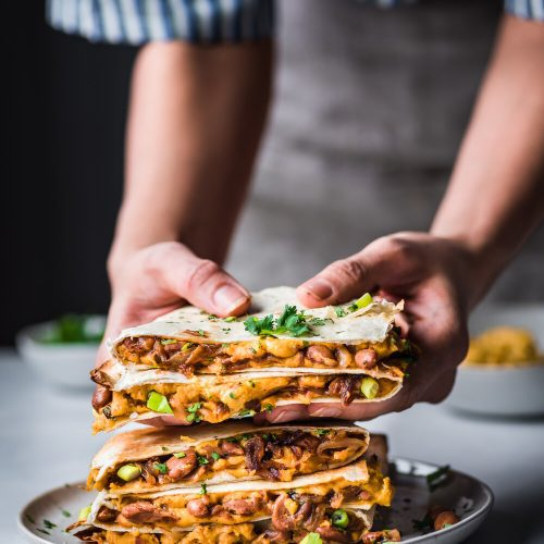 Vegan Quesadillas with Smoky Cheese and Refried Beans