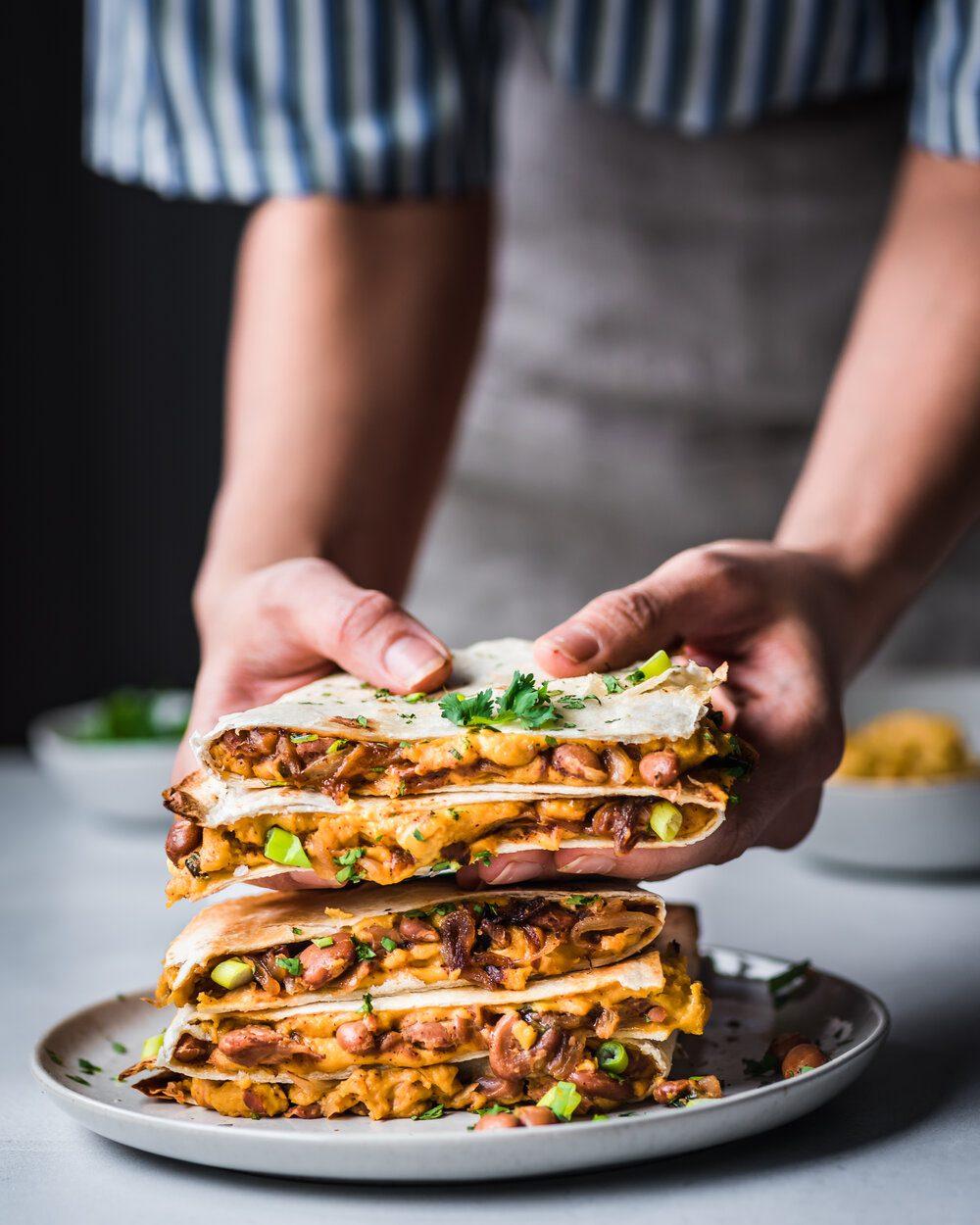 Vegan Quesadillas with Smoky Cheese and Refried Beans. quesadillas food photography. Vegan pantry quesadillas.