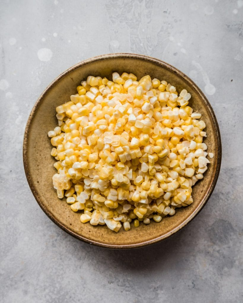 shaved corn in a bowl