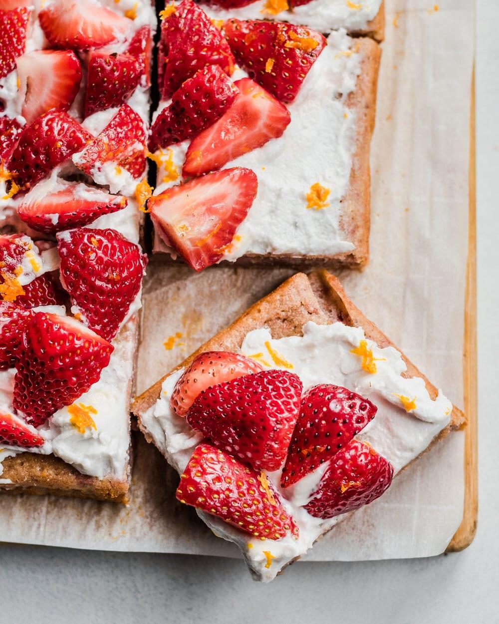 Vegan Strawberries and Cream Sheet Cake