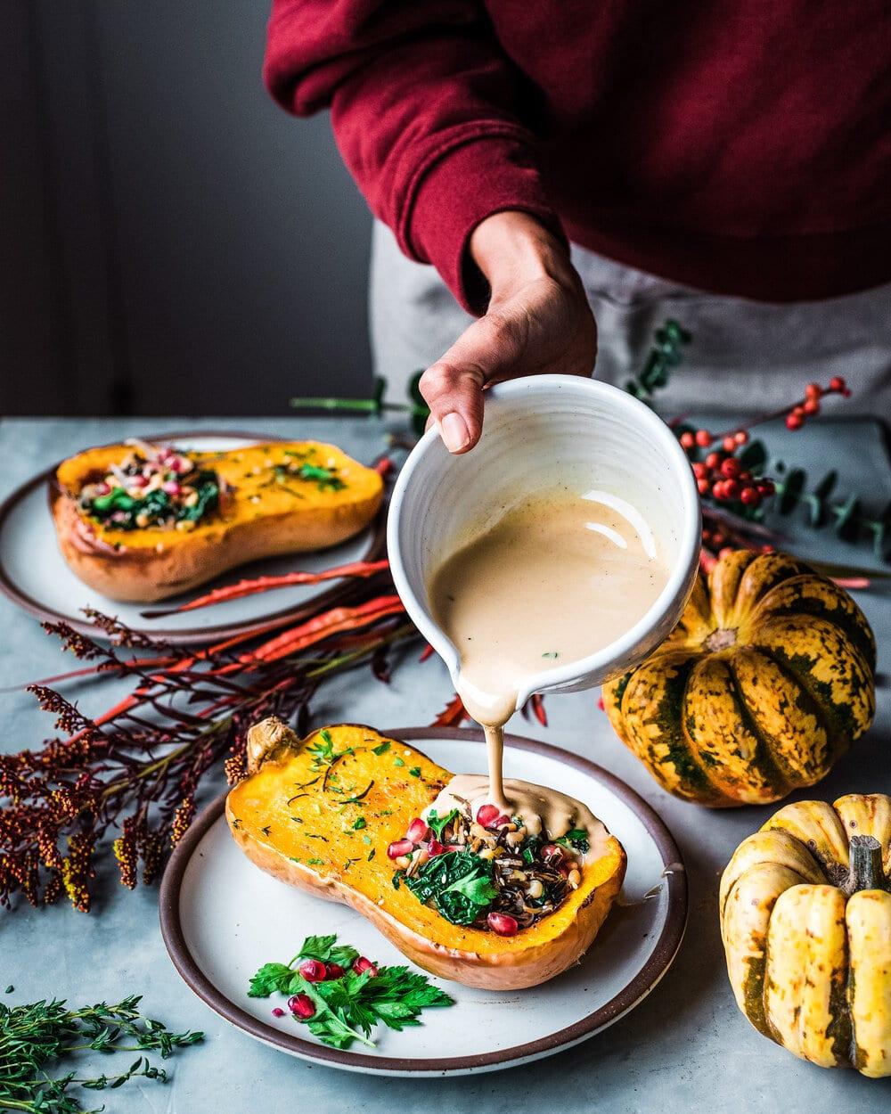 Vegan Wild Rice Stuffed Squash