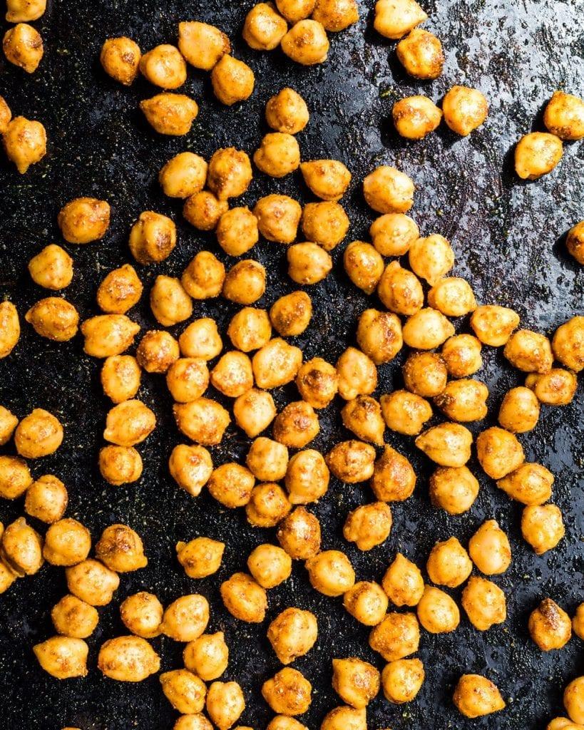 tandoori chickpeas on sheet pan