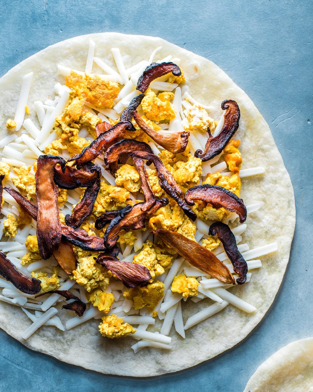 Vegan Quesadillas with Mushroom Bacon