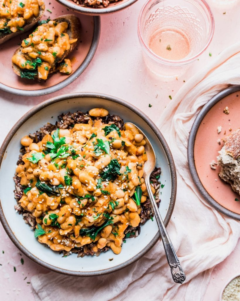 Creamy White Beans with Kale and Wild Rice