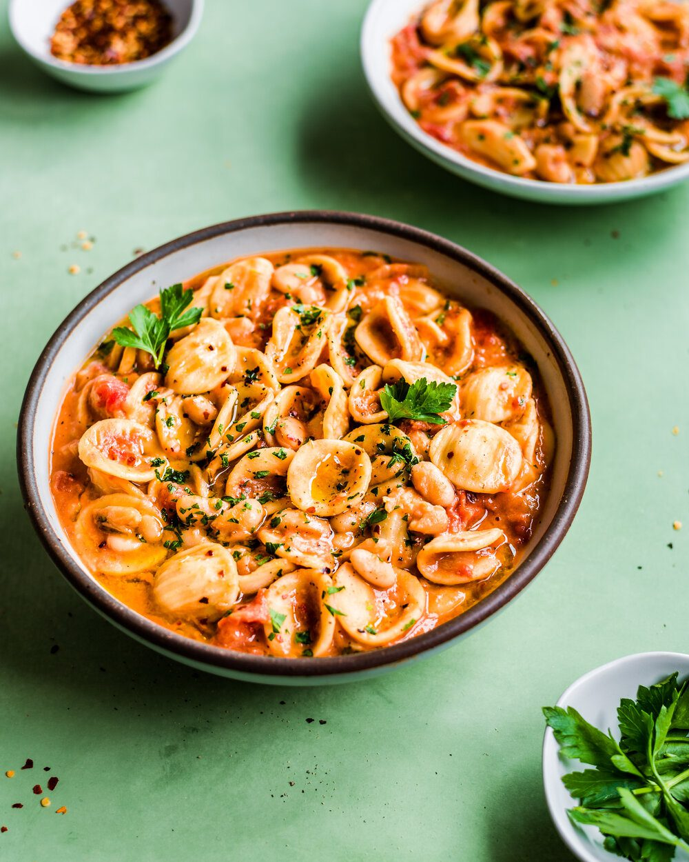 Vegan Italian White Bean and Pasta Stew. Pasta food photography.