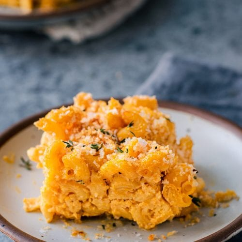 crispy vegan baked mac and cheese