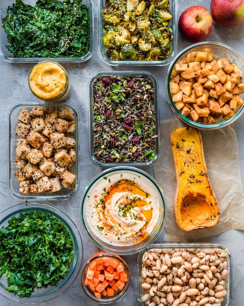 meal prepped food in containers - vegan meal prep for winter
