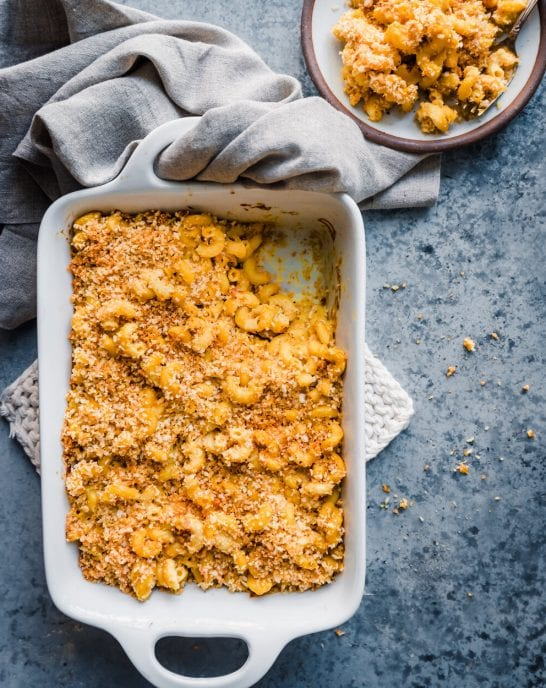 crispy baked vegan mac and cheese in baking pan