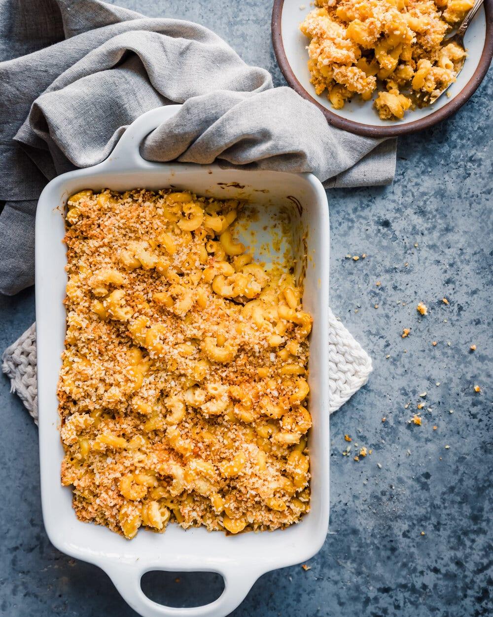 crispy baked vegan mac and cheese in baking pan