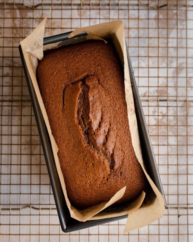 baked loaf in loaf pan