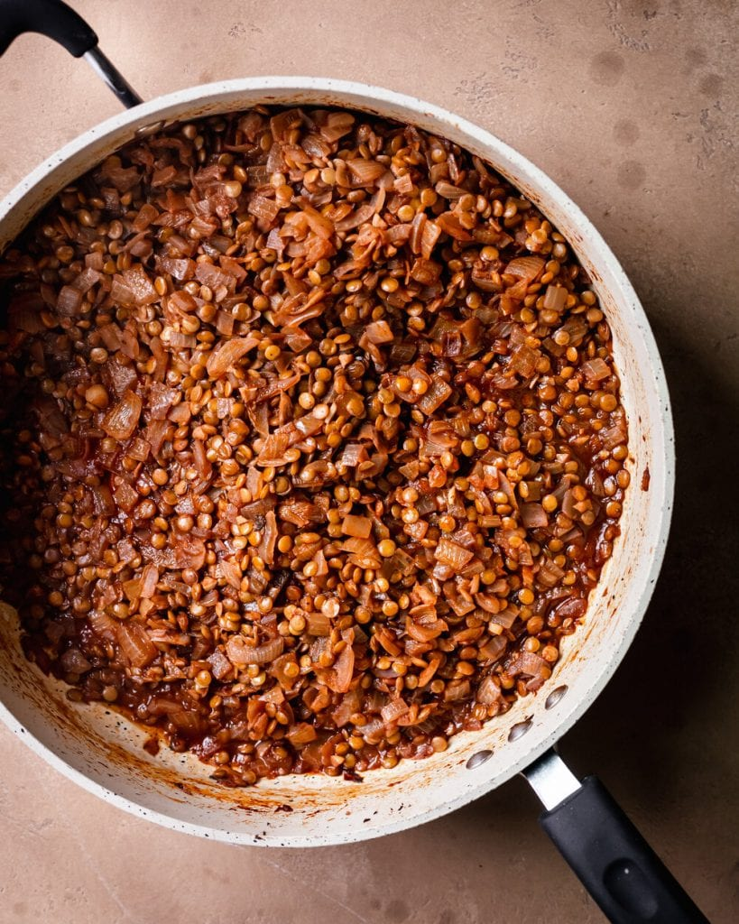 simmered lentils in saute pan