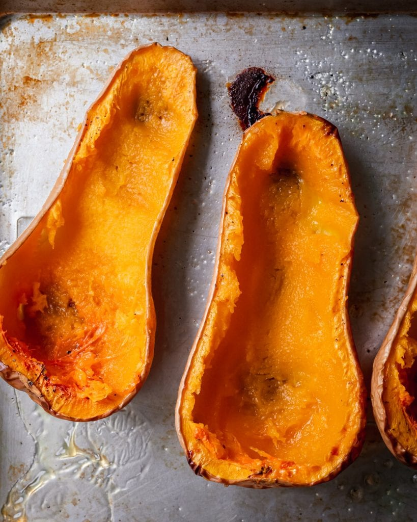 hollowed out butternut squash halves