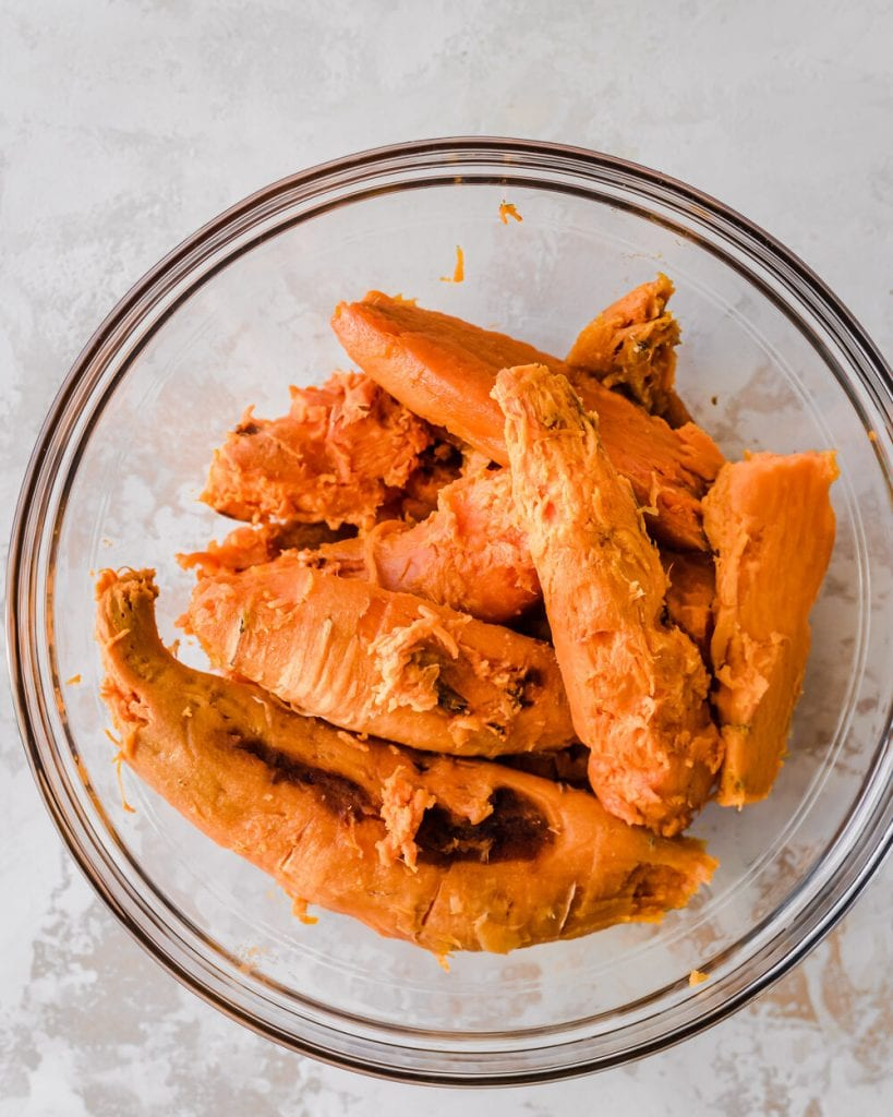 peeled sweet potatoes in bowl