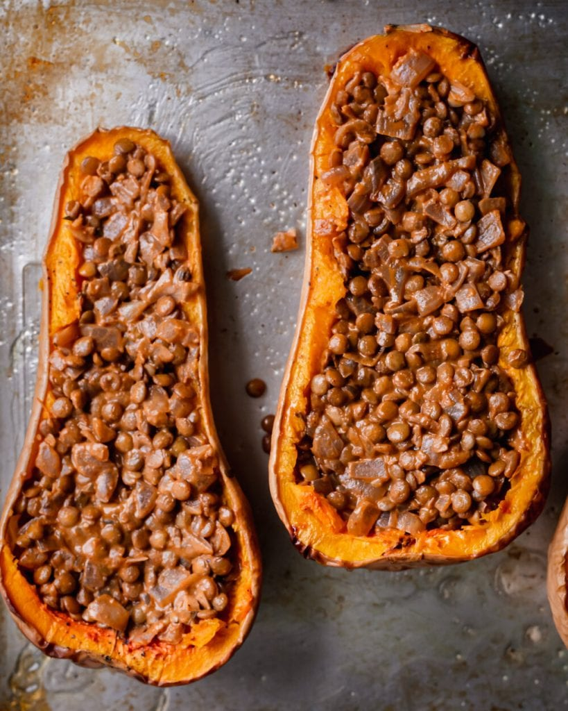 butternut squash halved filled with lentils