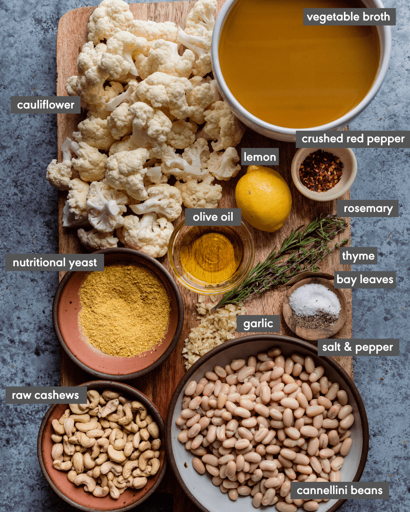 cauliflower soup ingredients on cutting board with text
