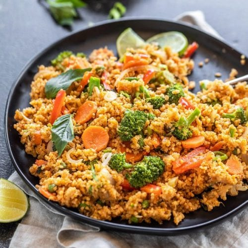 curried quinoa fried rice with veggies