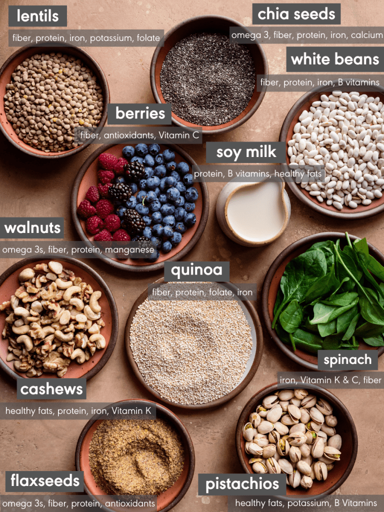 array of healthy vegan foods with nutrition facts