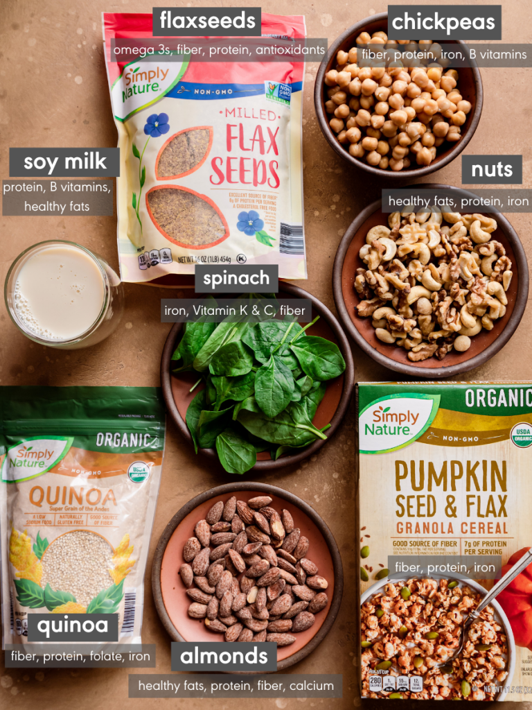 healthy vegan groceries with nutrition facts
