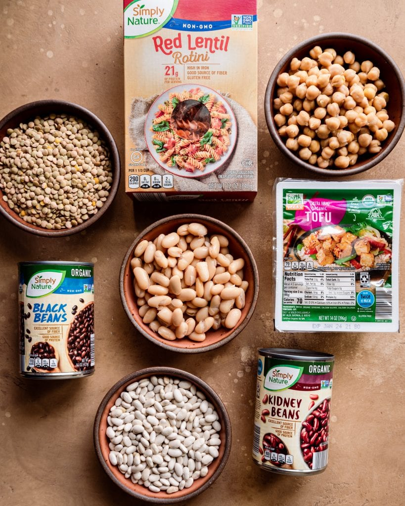 Veganuary tips. healthy plant-based sources of protein on brown board