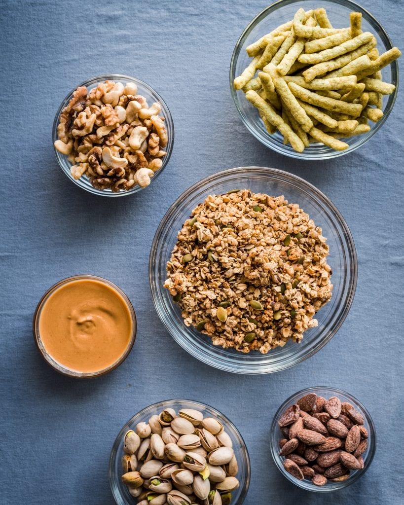 bowls of healthy vegan snacks