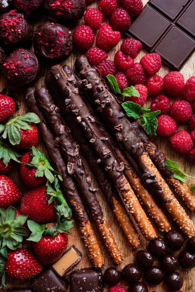 chocolate covered pretzels on dessert charcuterie board