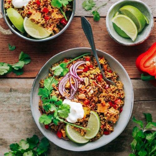 quinoa biryani with tofu cilantro lime and onions