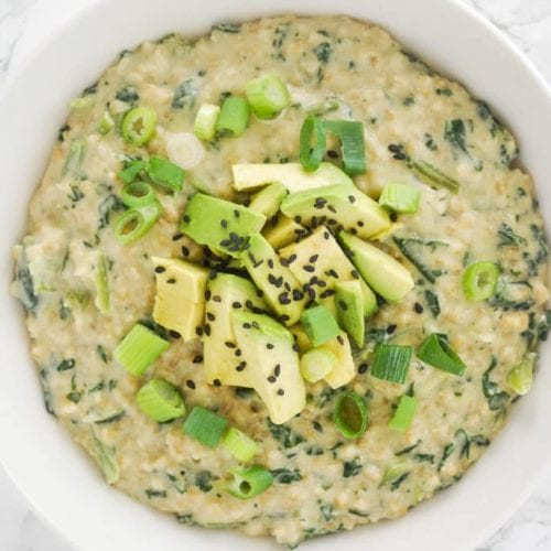 miso breakfast oatmeal with avocado