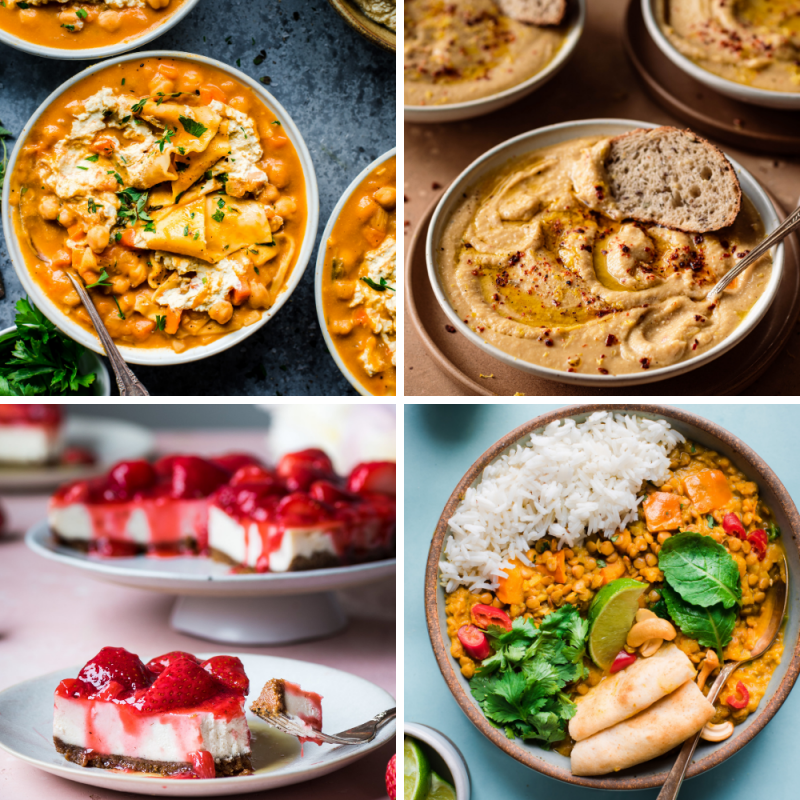 grid of four vegan instant pot recipes