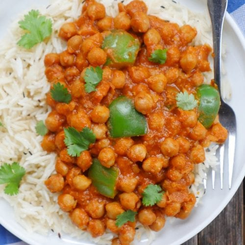 saucy chickpeas with rice