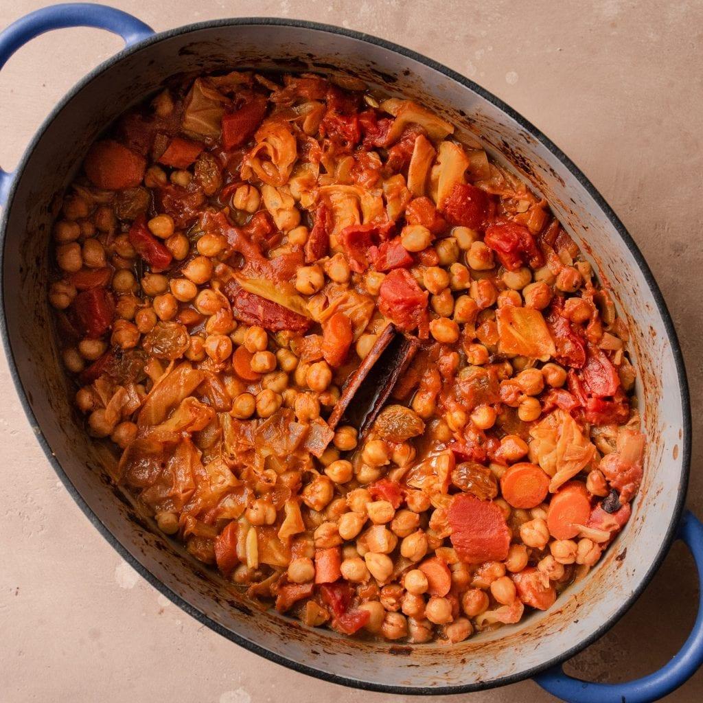 chickpea tomato stew in a dutch oven