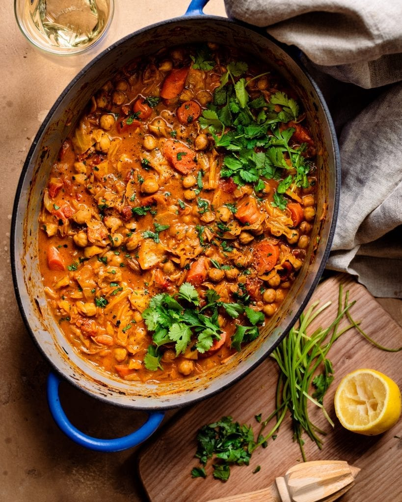 braised indian chickpea stew in dutch oven - dinner scene