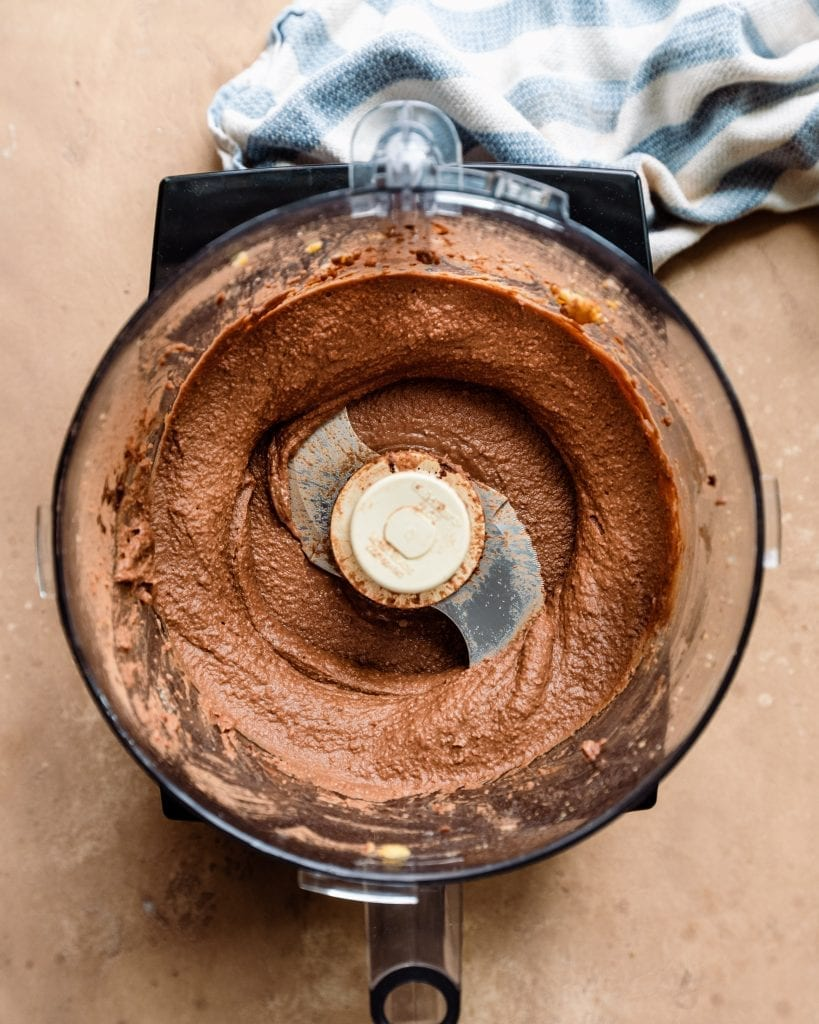 dessert chocolate hummus in food processor